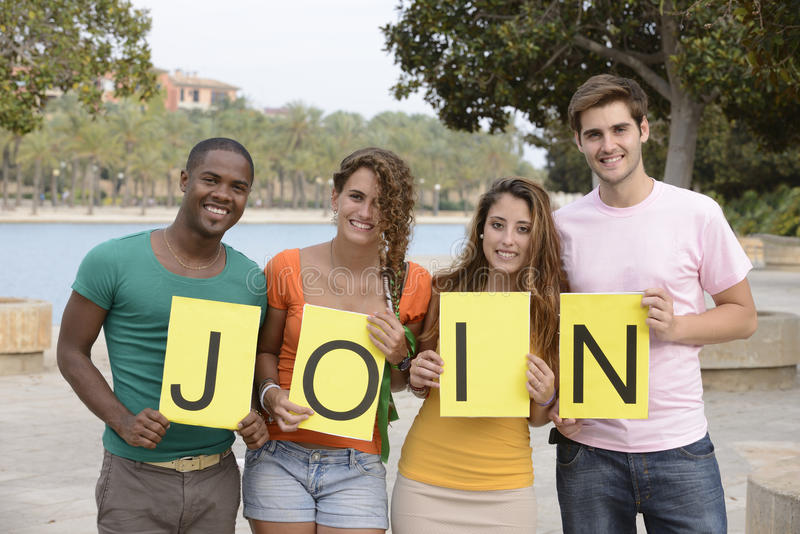 Join our group stock photos