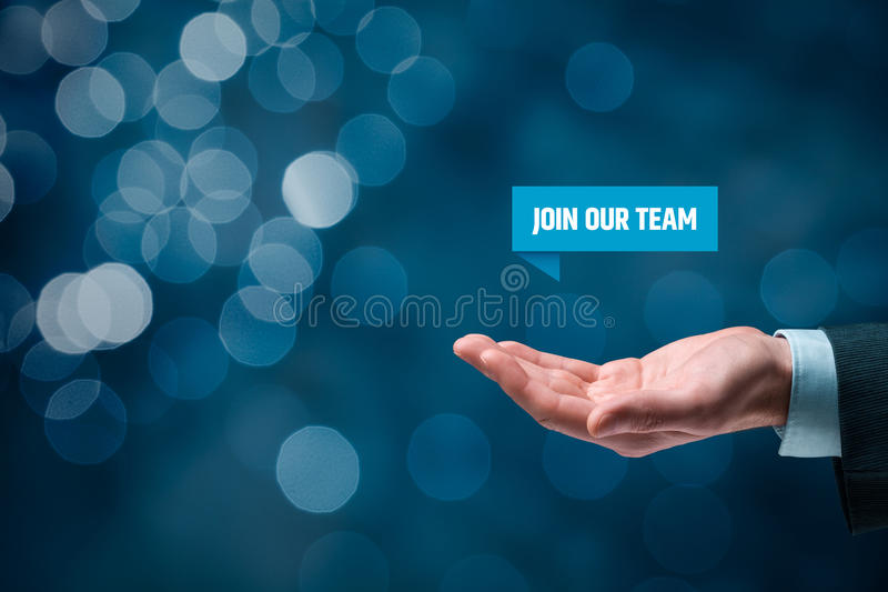Join our team. Concept. Headhunter (recruiter) hold virtual label with text  - human resources concept stock photography