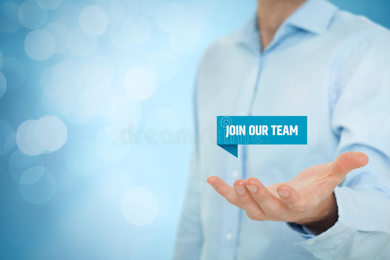 Join our team. Concept. Headhunter recruiter hold virtual label with text  - human resources concept stock images