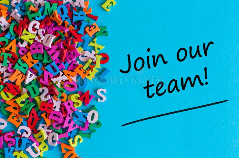 JOIN OUR TEAM - message for hiring. We are looking for new employees. Find new job concept royalty free stock image