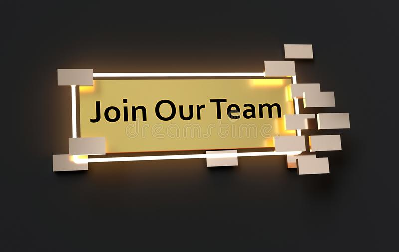 Join Our Team modern golden sign. With golden cubes around and glowing neon light on the black wall , 3d rendered stock illustration