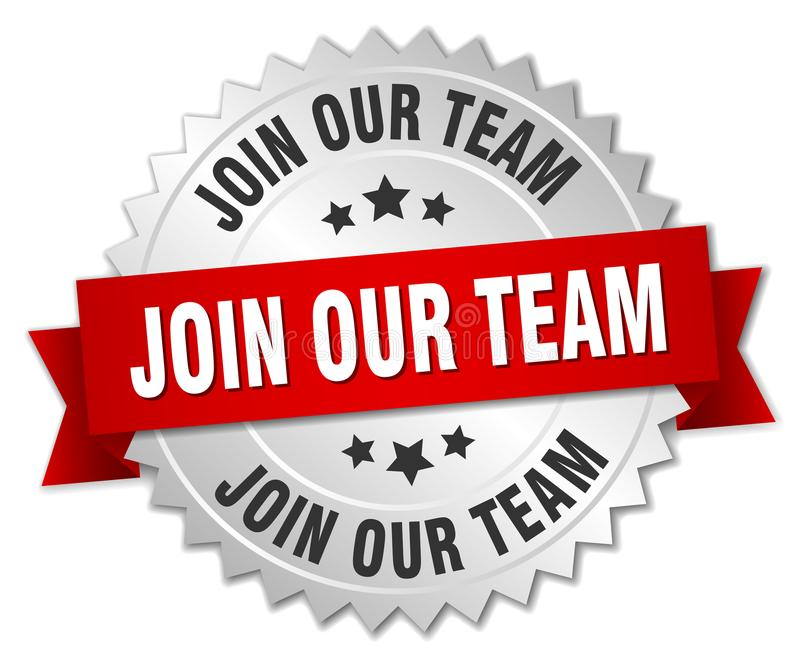 Join our team. Silver badge with red ribbon stock illustration