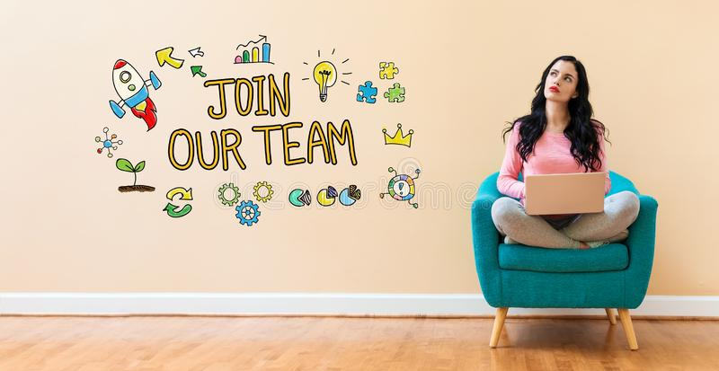 Join our team with woman using a laptop. Join our team with young woman using a laptop computer royalty free stock photo