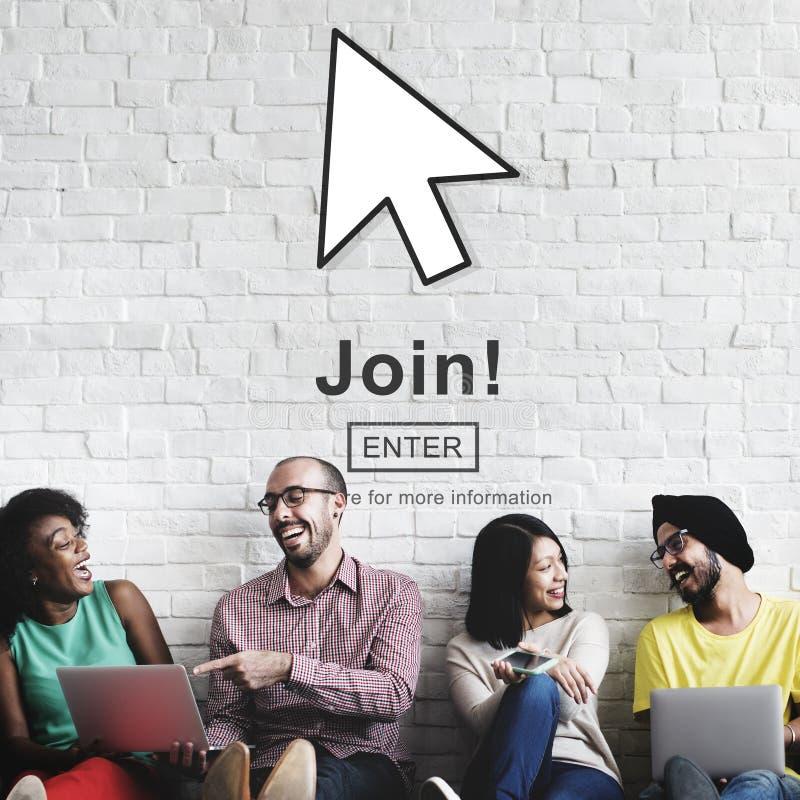 Join Register Enter Arrow Icon Concept stock photo
