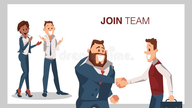 Join Team Successful Job Interview Man Shake Hand. Smiling Businessman Character Handshake. Partnership Begin. Office Worker Wear Suit Clap with Joy. Cartoon stock illustration