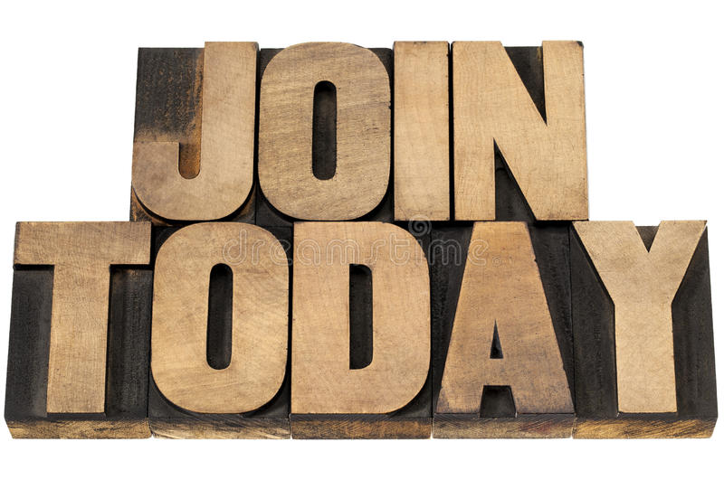 Download Join today in wood type stock image. Image of join, white - 30746815