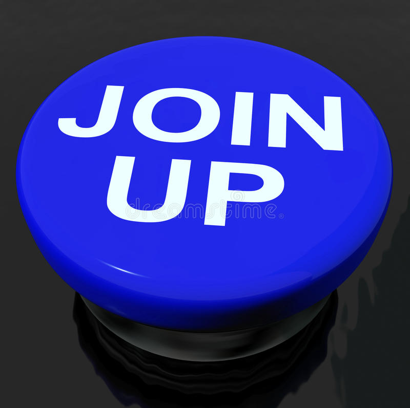 Join Up Button Shows Joining Membership Register. Join Up Button Showing Joining Membership Register royalty free illustration