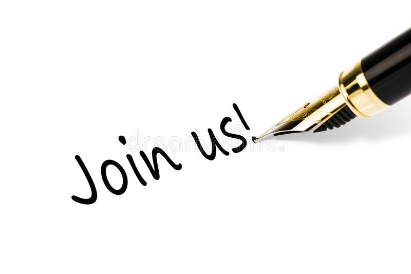 Join us. Fountain pen writing join us