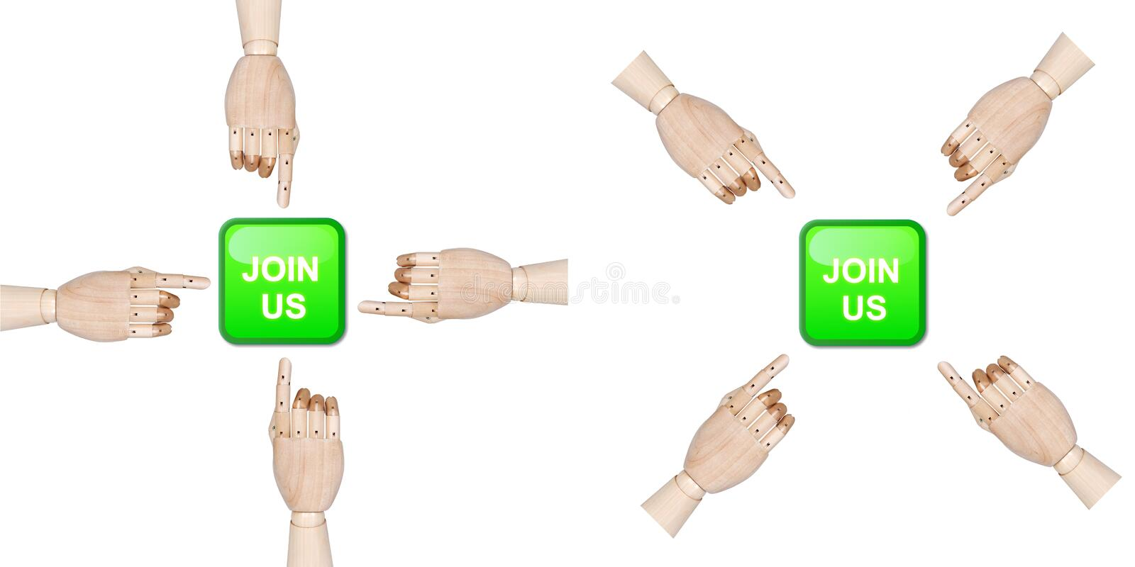 Join us. Set of two pictures containing join us button with four wooden hands arranged in square and pushing it royalty free illustration