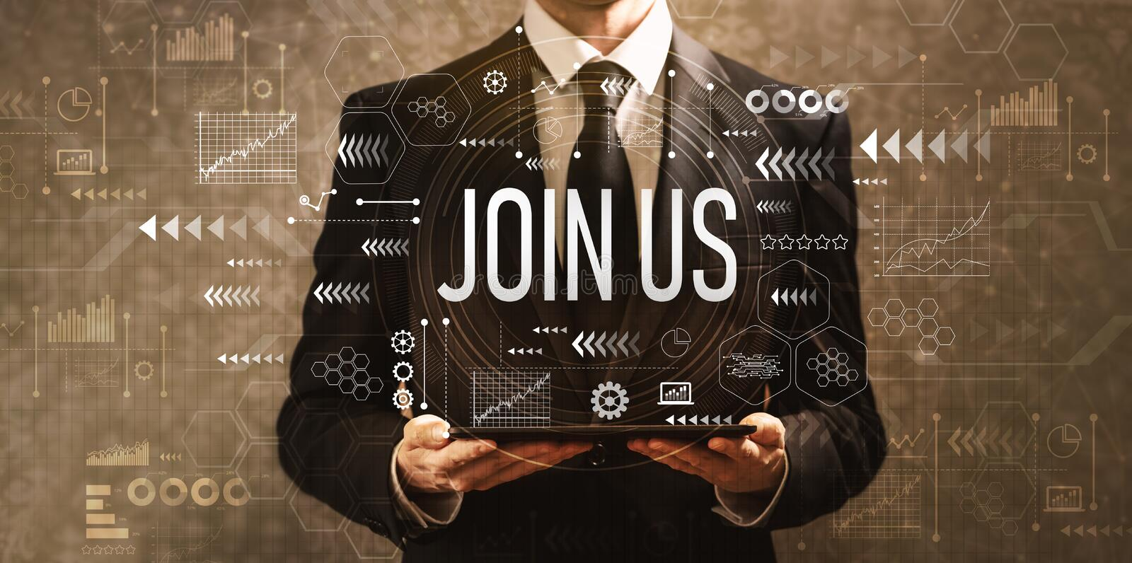 Join us with businessman holding a tablet computer stock photos