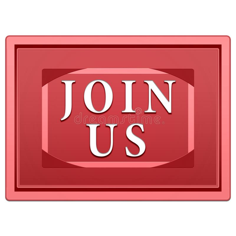 Join us button. Big red button join us. Rectangular shape on a white background stock illustration