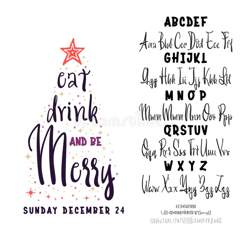 Join us for a Christmas party horizontal flyer. Vector of stylized two fonts handwritten and alphabet. stock illustration