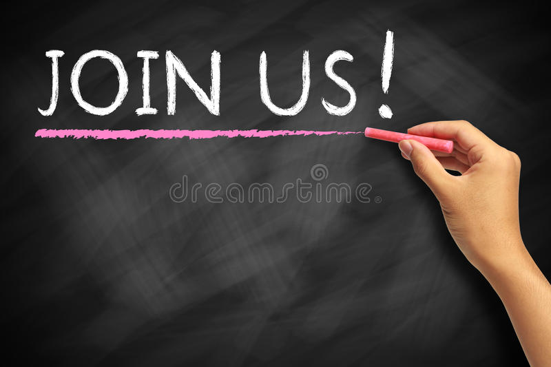 Join us. Hand writing join us text with chalk on a blackboard royalty free stock image