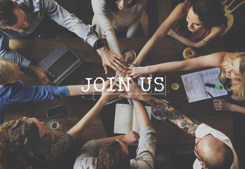 Join Us Joining Membership Participate Concept royalty free stock images