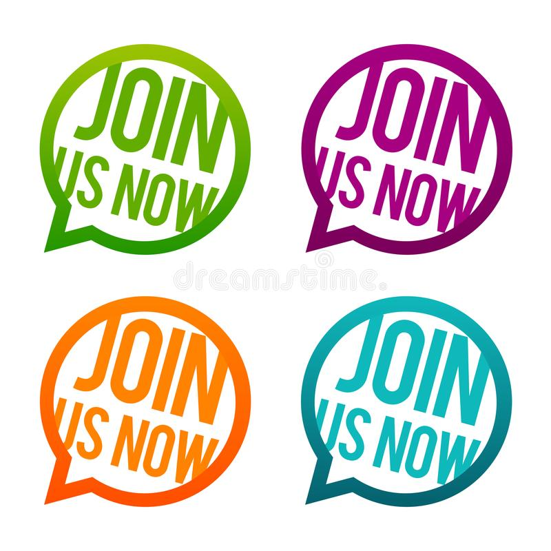 Join us now round Buttons. Circle Eps10 Vector. Join us now round Buttons. Circle Eps10 Vector illustration royalty free illustration