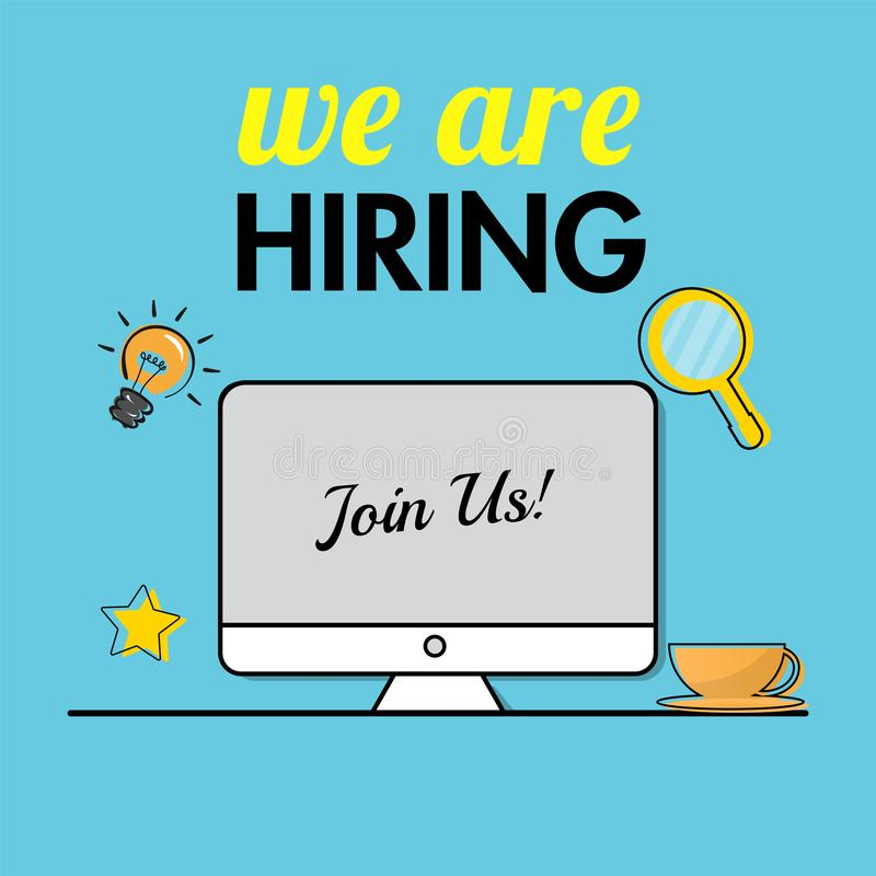 Join us, Office job vacancy from online advertising by computer for We`re Hiring. royalty free illustration