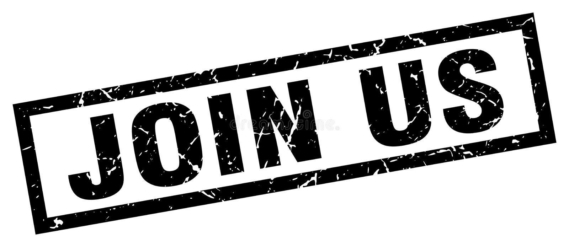 Join us stamp. Join us grunge stamp on white background stock illustration