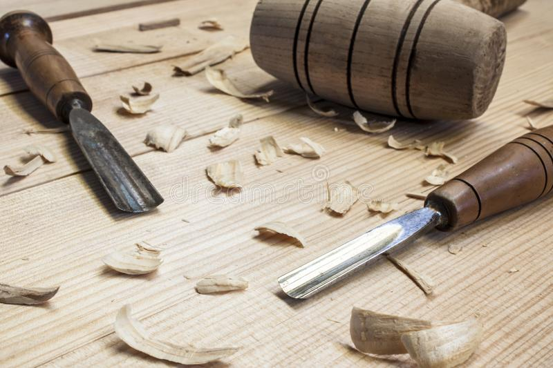 Joiner tools. On wood table background royalty free stock image