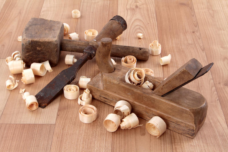 Joiner tools. On wood table background royalty free stock photo