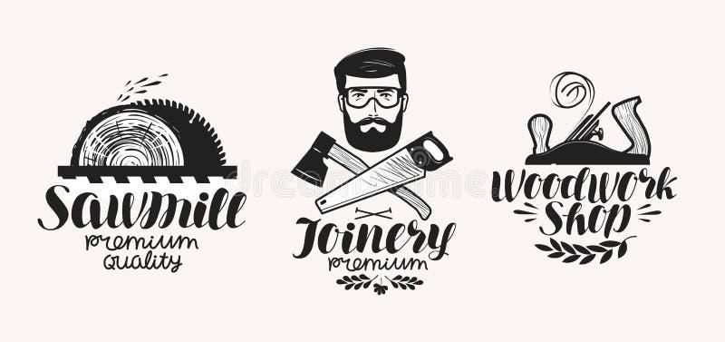 Joinery, σύνολο ετικετών πριονιστηρίων Εικονίδιο ή λογότυπο καταστημάτων ξυλουργικής Χειρόγραφη εγγραφή, διανυσματική απεικόνιση  διανυσματική απεικόνιση