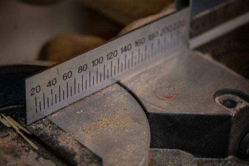 Joinery accessories shown in a large magnification. Dark background. royalty free stock photography