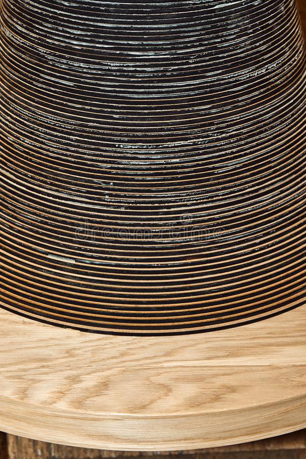 Joinery. Creative round shape coffee table made of mdf and natural wood. Joinery. Wooden coffee table in shape of circle being produced in workshop stock photo