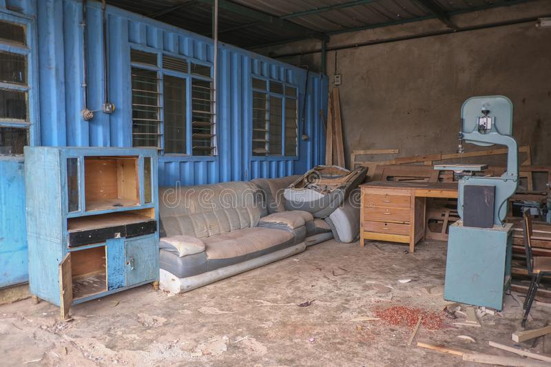 Joinery in Nairobi. An old abandoned joinery in Nairobi royalty free stock photo