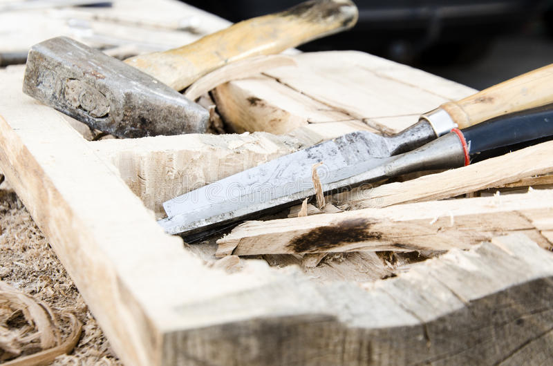 Joinery tools. Making wooden box stock photography