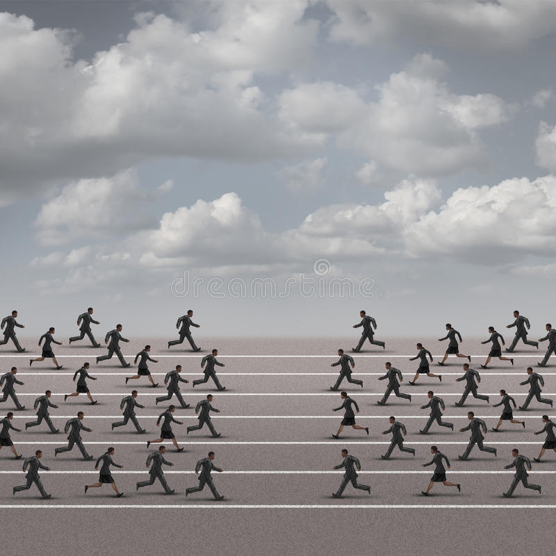 Joining Forces Business Concept. Or company group confrontation as businesswomen and businessmen running towards each other as a metaphor for unity or corporate royalty free illustration