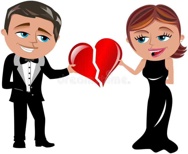 Joining Hearts Love. Illustration featuring Bob and Meg in elegant dress joining or connecting their hearts isolated on white background. You can find other royalty free illustration