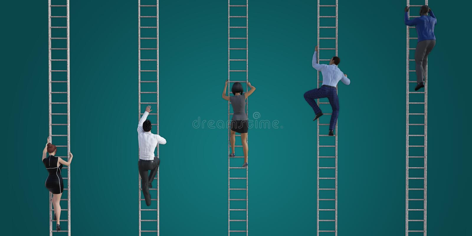 Joining the Rat Race. With Endless Climbing of Corporate Ladder stock illustration