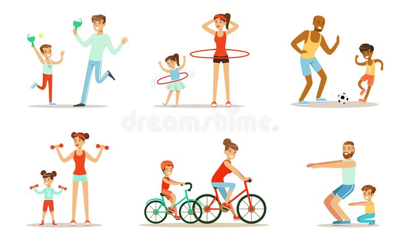 Joint Activity Of Parents And Children, Sports And Exercises Vector Illustration Set Isolated On White Background. Joint activity and sports of parents and kids vector illustration