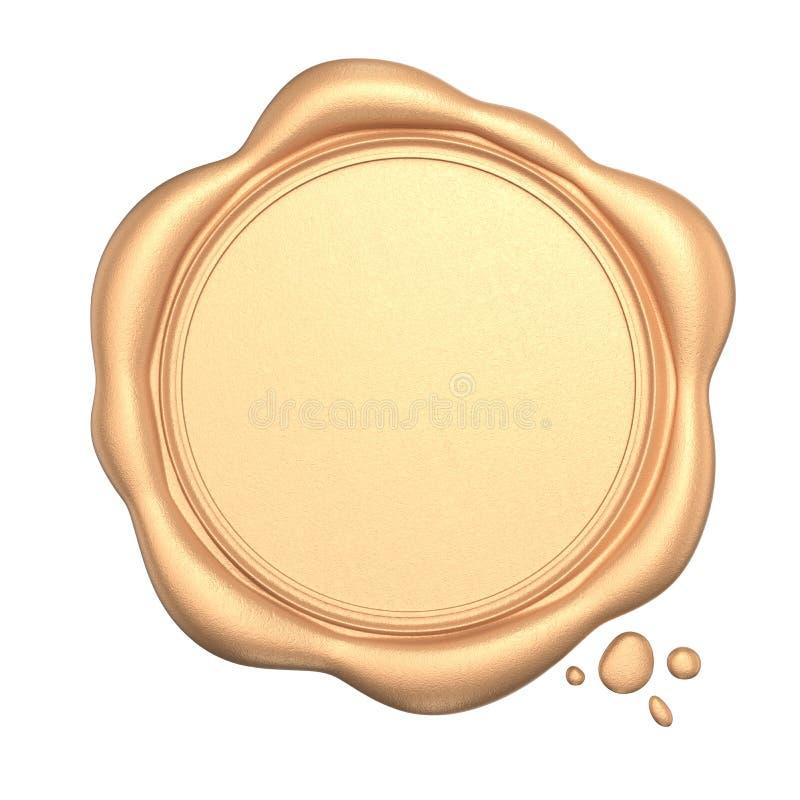 Joint d'or de cire avec l'espace vide d'isolement sur le fond blanc illustration libre de droits