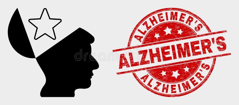 """Joint d'icône d'étoile d'esprit ouvert de vecteur et de S d'Alzheimer de détresse """" illustration stock"""