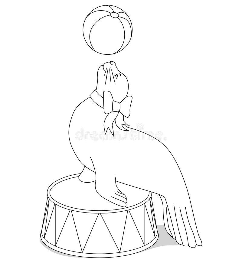 Joint de cirque avec une boule pour livre de coloriage illustration de vecteur