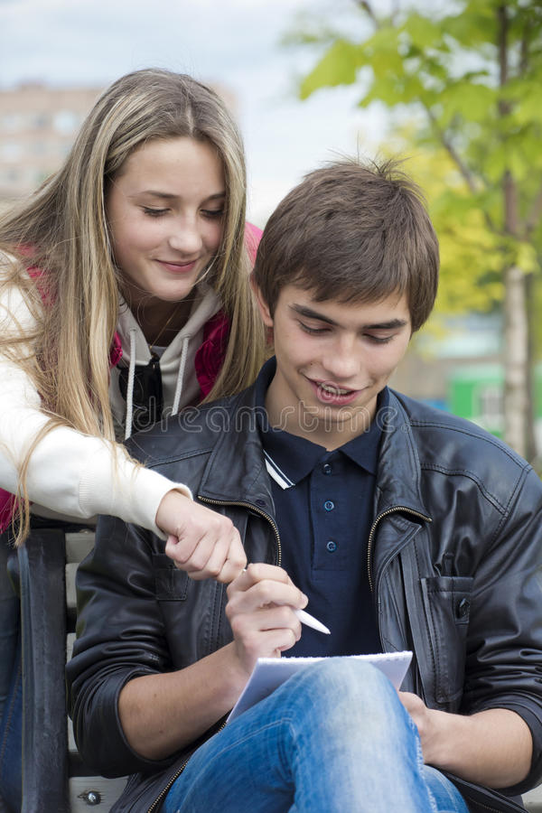 Download The joint decision stock photo. Image of notebook, teenagers - 25138992