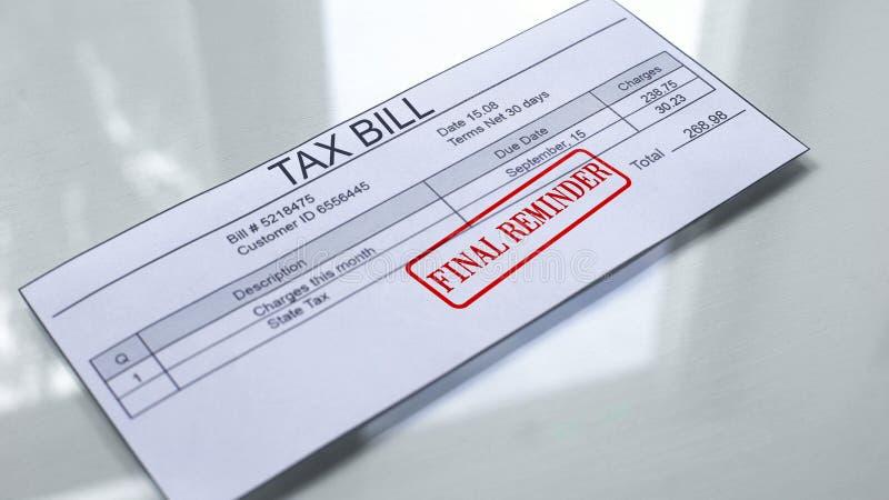 Joint final de rappel embouti sur la loi d'imposition, paiement pour des services, dépenses de mois illustration libre de droits