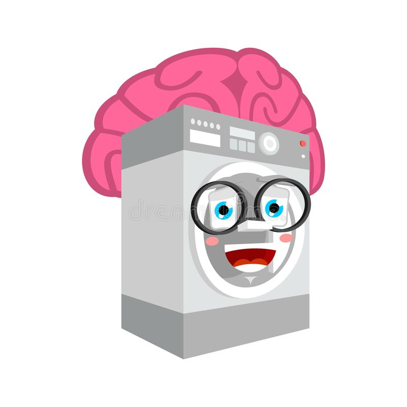 Joint futé avec des cerveaux d'isolement toilettes dans le style de bande dessinée de machine à laver vecteur intelligent illustration libre de droits