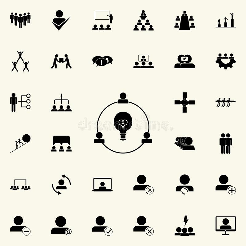 Joint ideas icon. Teamwork icons universal set for web and mobile. On colored background vector illustration