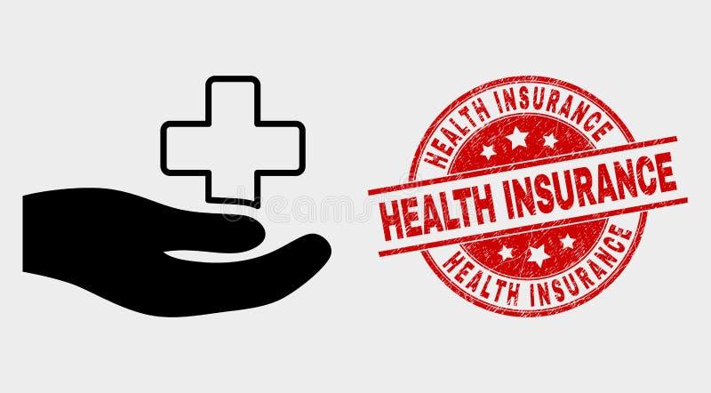 Joint médical de timbre d'icône de main de donation de vecteur et d'assurance médicale maladie de détresse illustration de vecteur