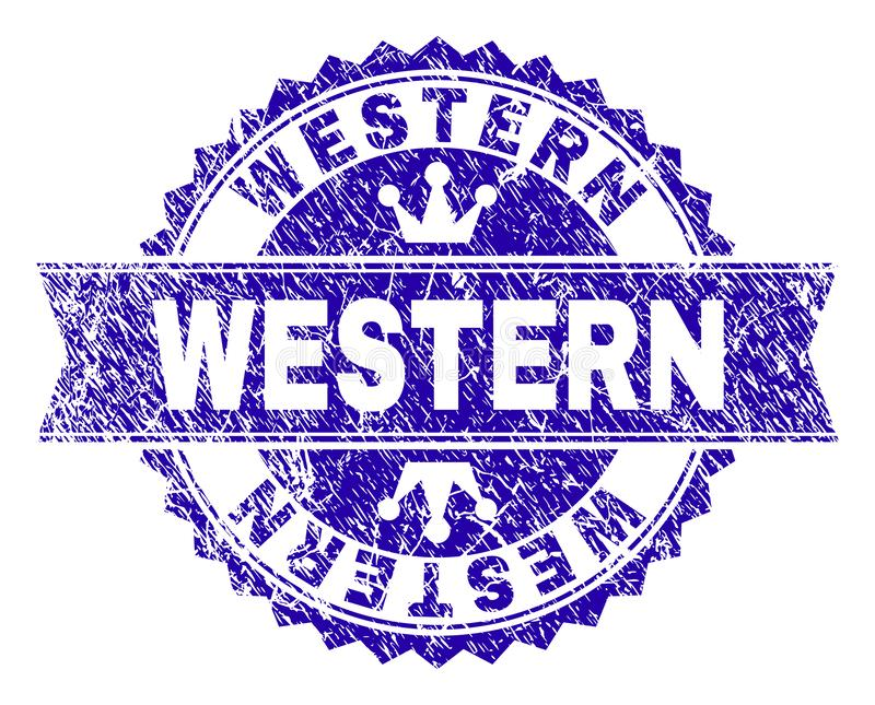 Joint OCCIDENTAL texturisé de timbre de grunge avec le ruban illustration stock
