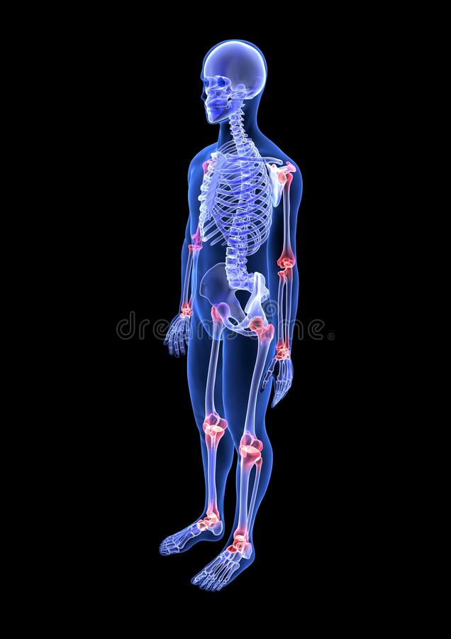 Joint Pain. Blue Human Anatomy Body And Skeleton 3D Scan Render On ...