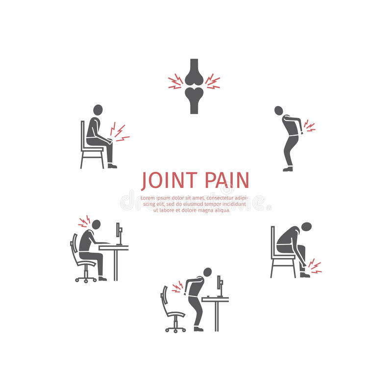 Joint pain. Flat icons set. Vector stock photos