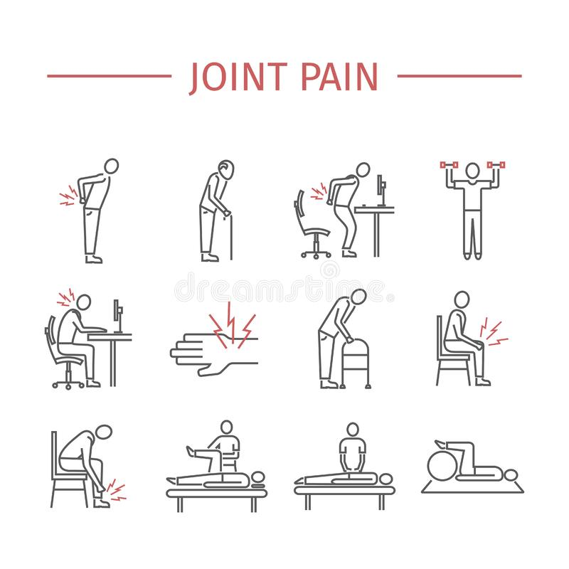 Joint pain. Line icons set. Vector signs. For web graphics vector illustration