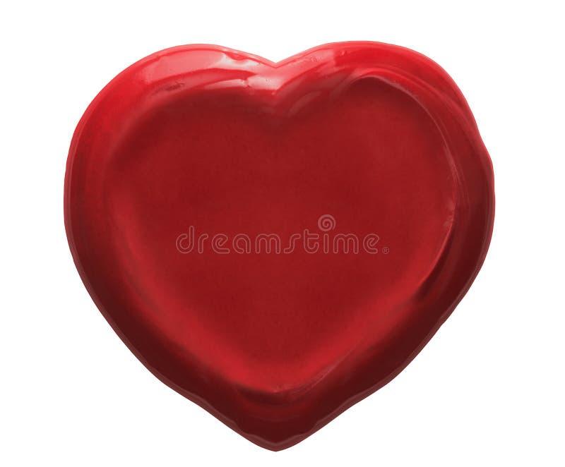 Joint rouge de cire de coeur d'isolement photographie stock