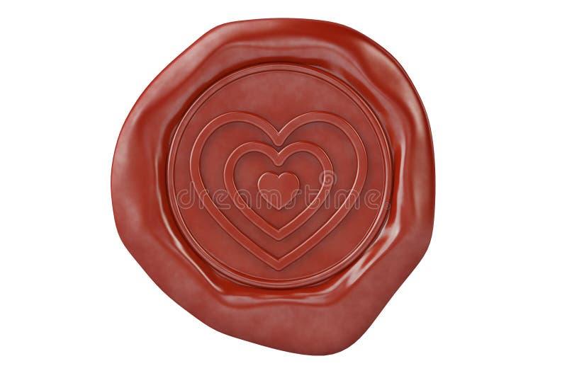 Joint rouge en forme de coeur de la cire trois illustration 3D illustration de vecteur