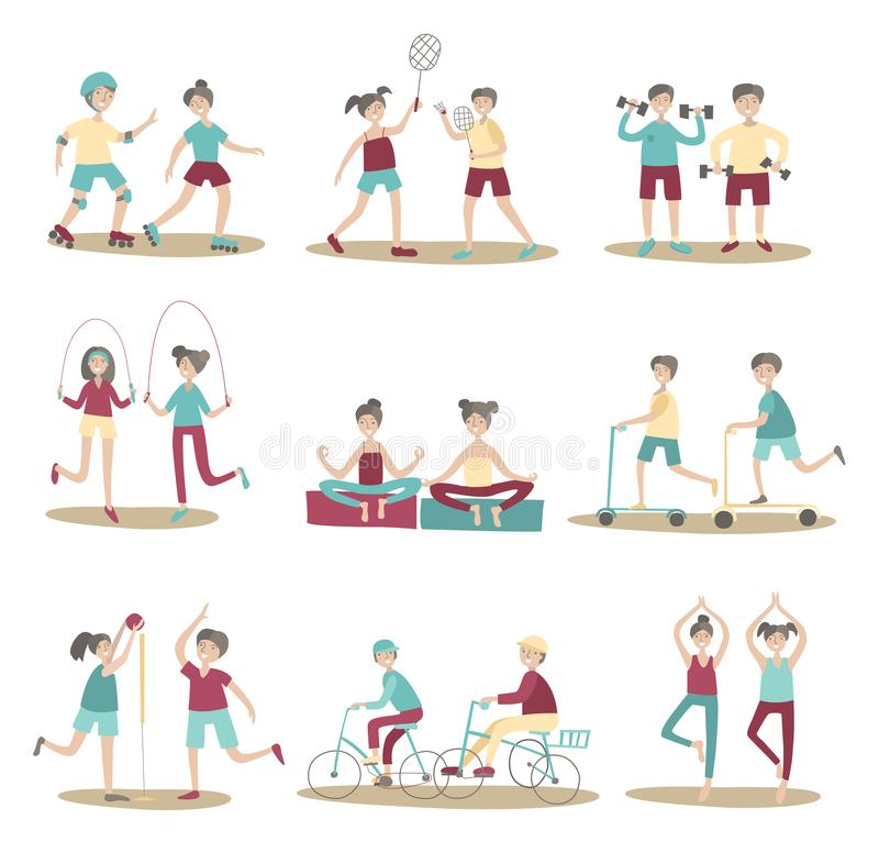 Joint sport activities, young people having fun together. Active lifestyle, sports entertainment outdoors. Set of poses royalty free illustration