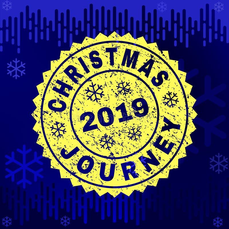 Joint texturisé de timbre de VOYAGE de NOËL sur le fond d'hiver illustration libre de droits