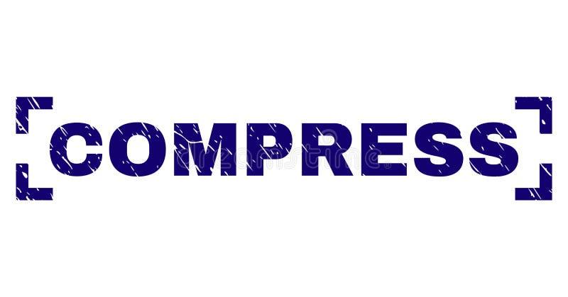Joint texturisé grunge de timbre de COMPRESSE entre les coins illustration de vecteur
