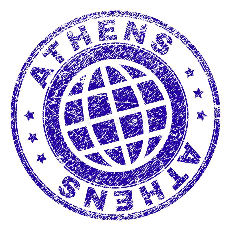 Joint texturisé rayé de timbre d'ATHÈNES illustration de vecteur
